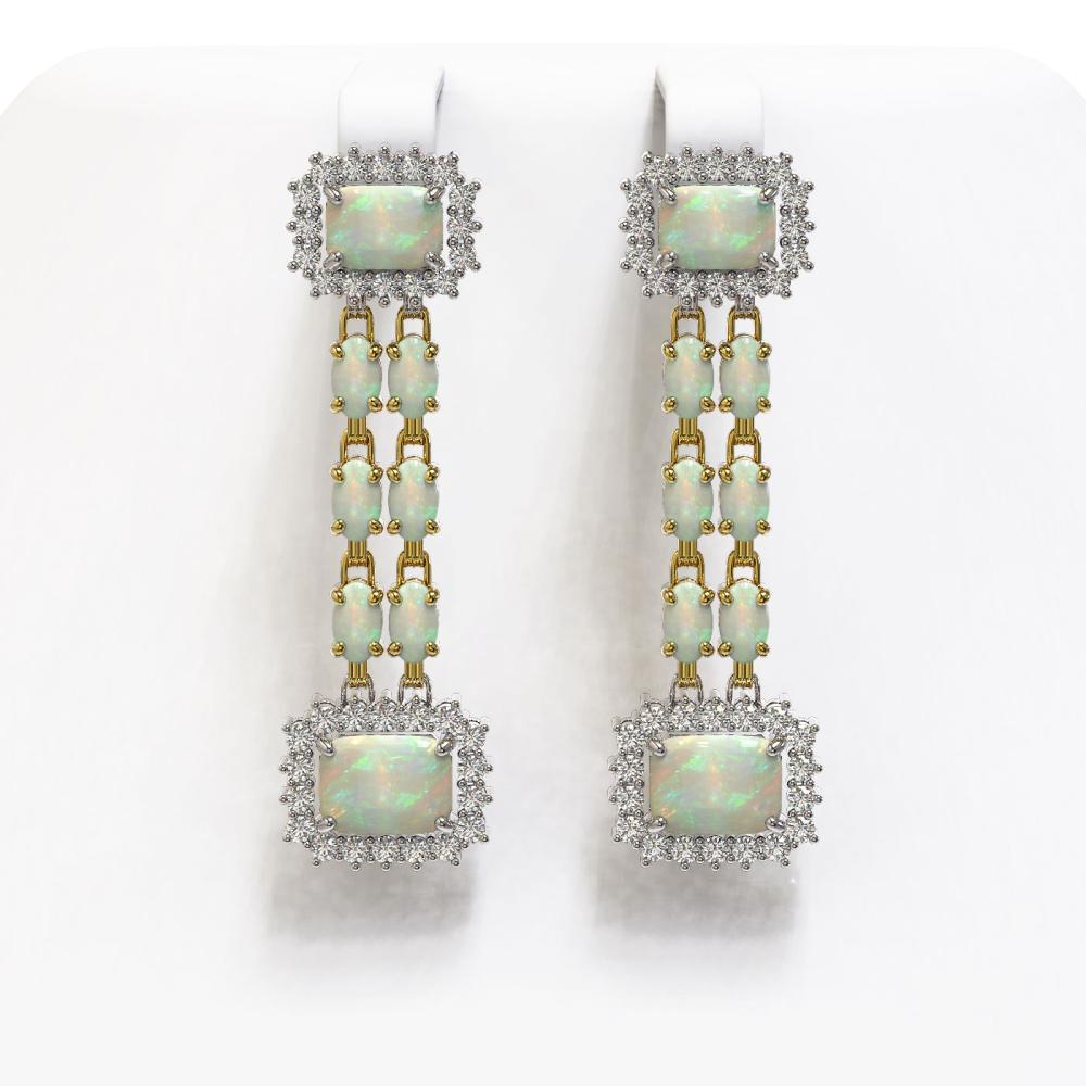 8.26 ctw Opal & Diamond Earrings 14K Yellow Gold - REF-204K4W - SKU:45211
