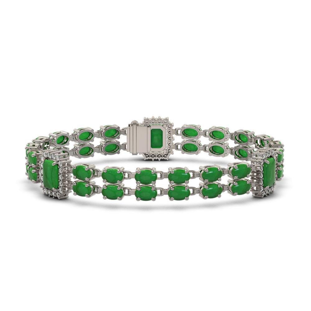 29.88 ctw Jade & Diamond Bracelet 14K White Gold - REF-249X8R - SKU:45191