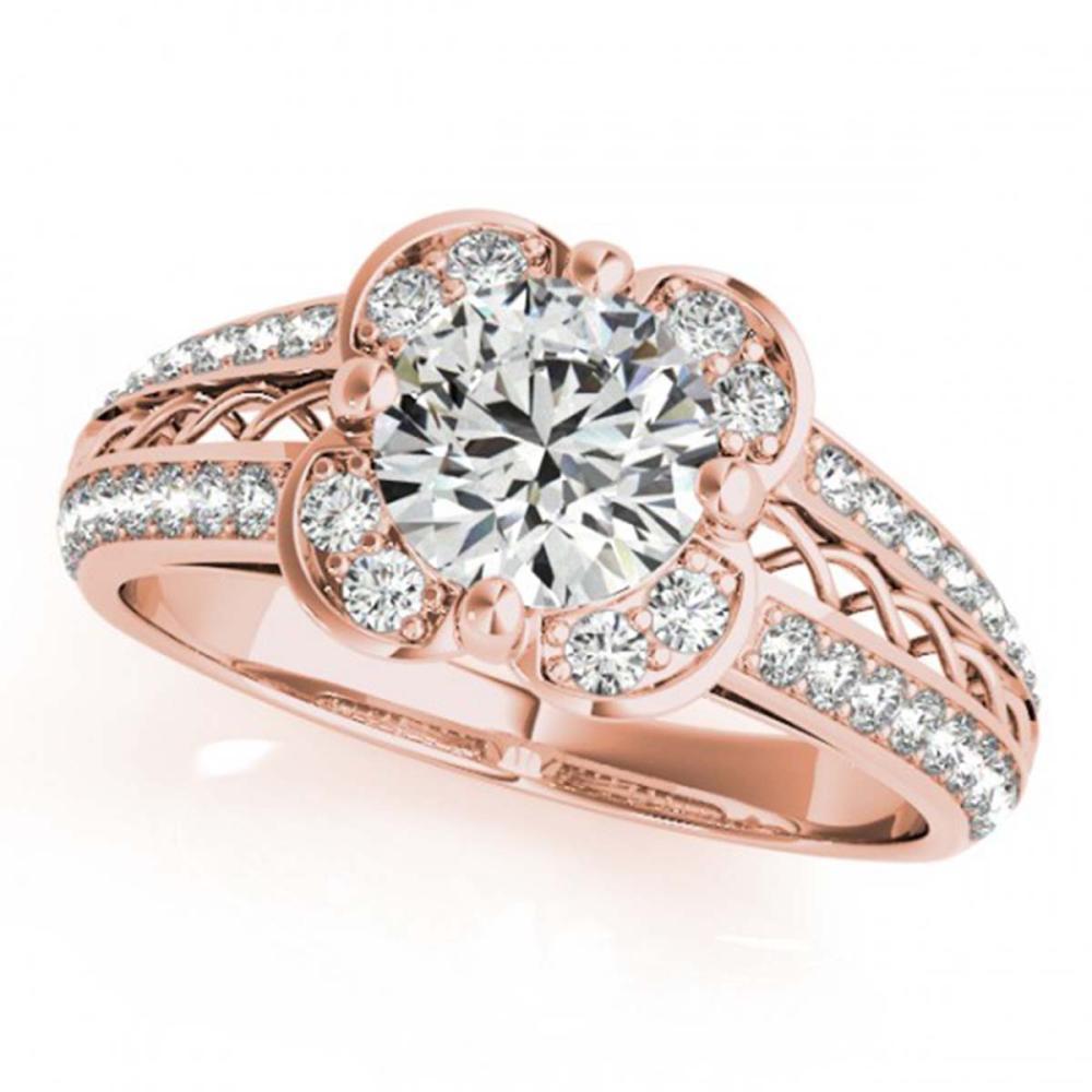 0.85 ctw VS/SI Diamond Halo Ring 18K Rose Gold - REF-105M2F - SKU:26908