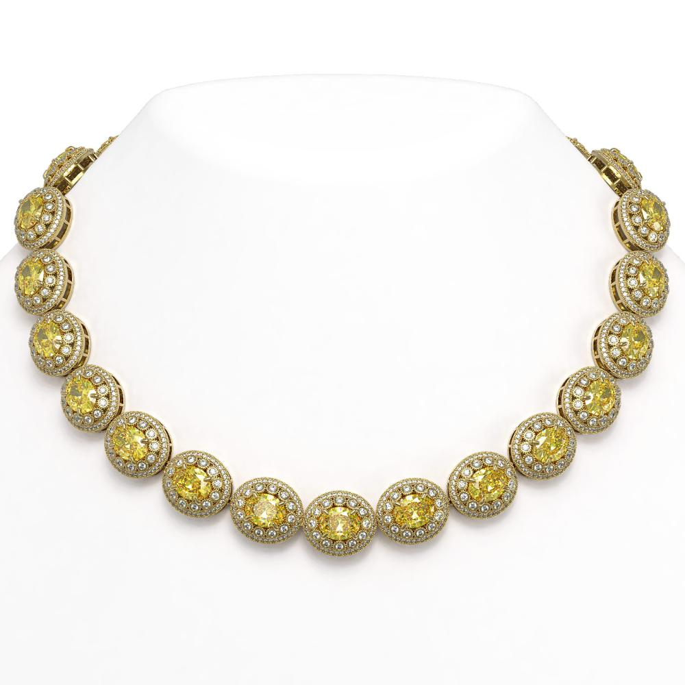 89.35 ctw Canary Citrine & Diamond Necklace 14K Yellow Gold - REF-2597H3M - SKU:43699