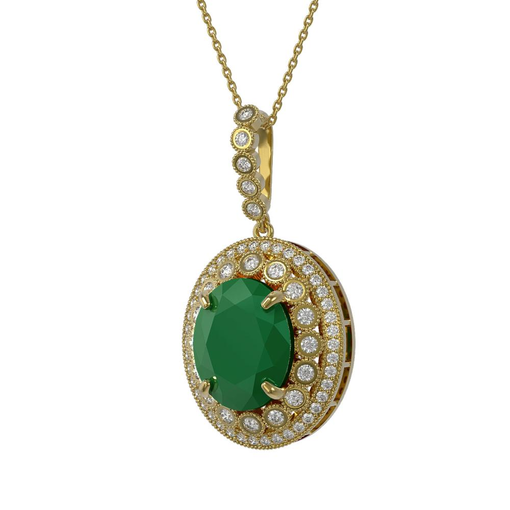 13.75 ctw Emerald & Diamond Necklace 14K Yellow Gold - REF-288W7H - SKU:43861