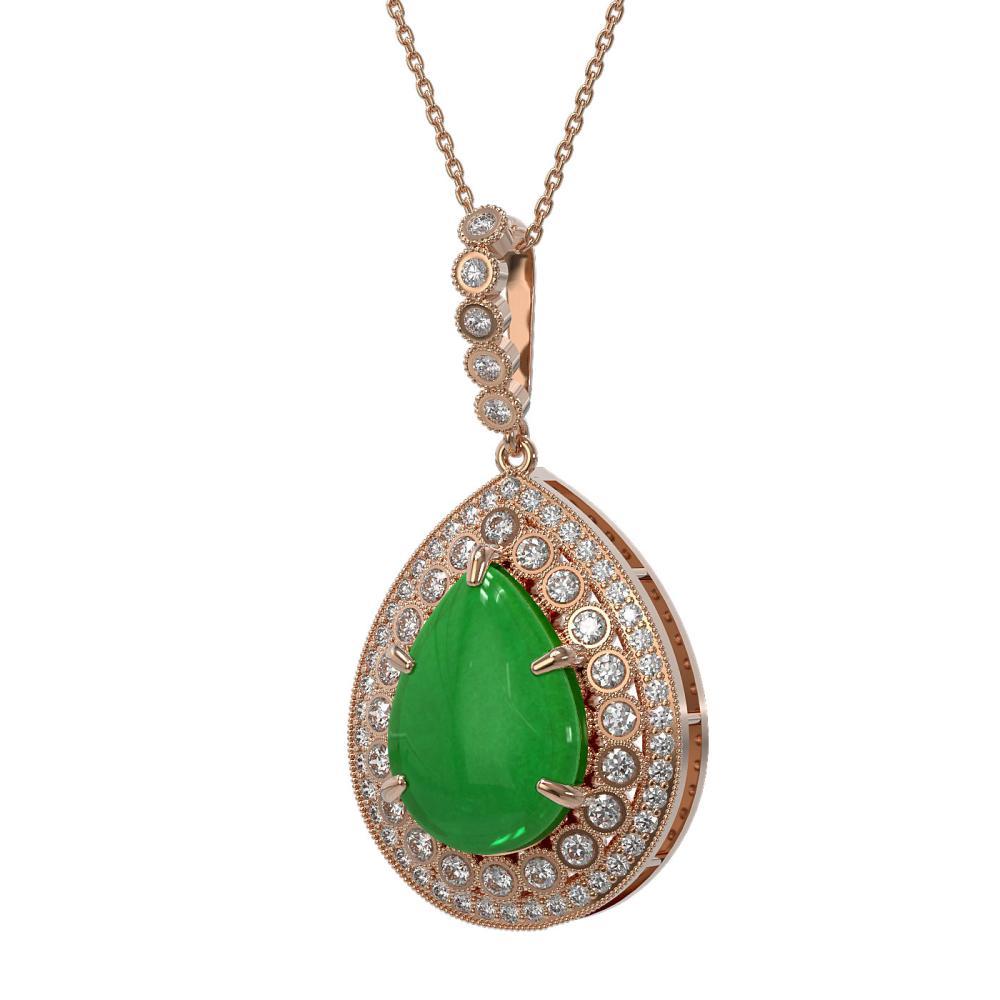 10.41 ctw Jade & Diamond Necklace 14K Rose Gold - REF-215Y3X - SKU:46192