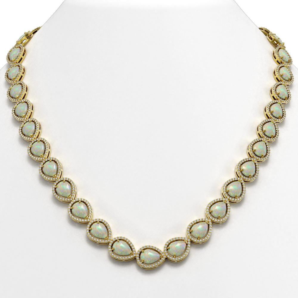 36.48 ctw Opal & Diamond Halo Necklace 10K Yellow Gold - REF-685F6N - SKU:41203