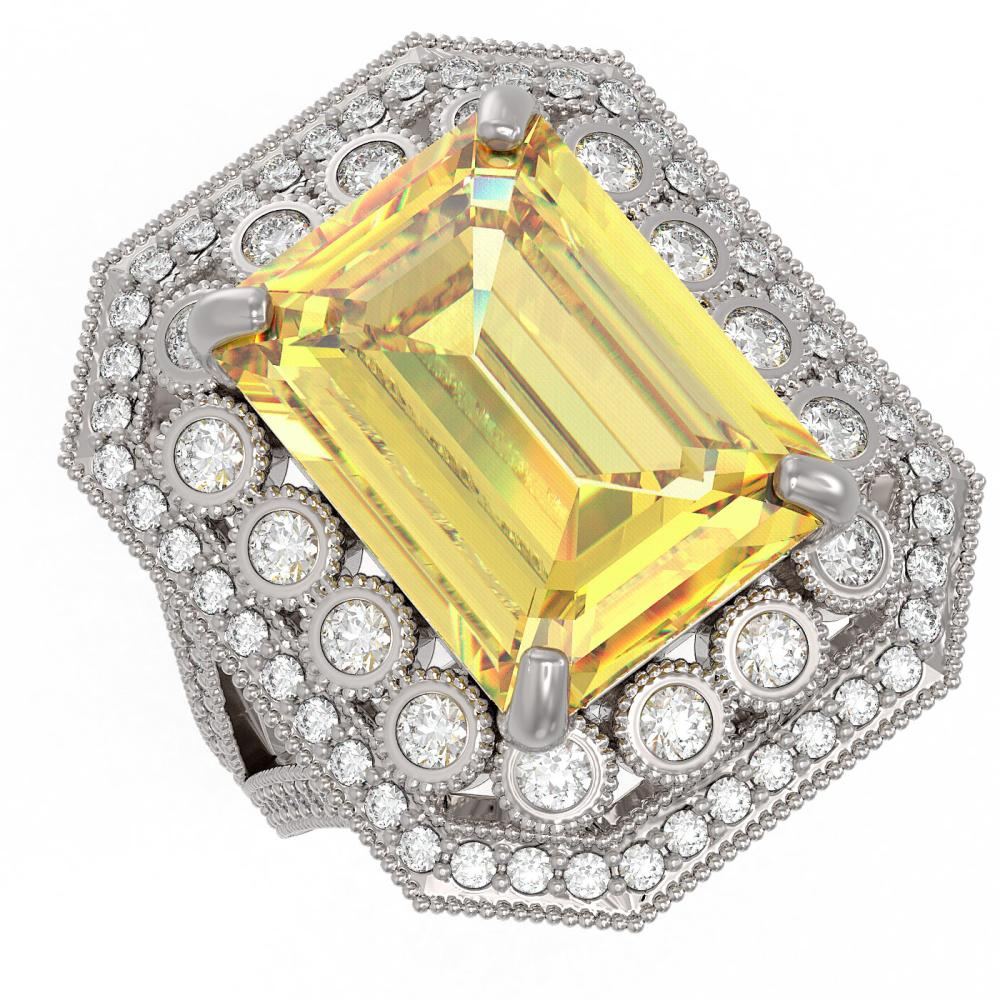 16.63 ctw Canary Citrine & Diamond Ring 14K White Gold - REF-264M9F - SKU:43556