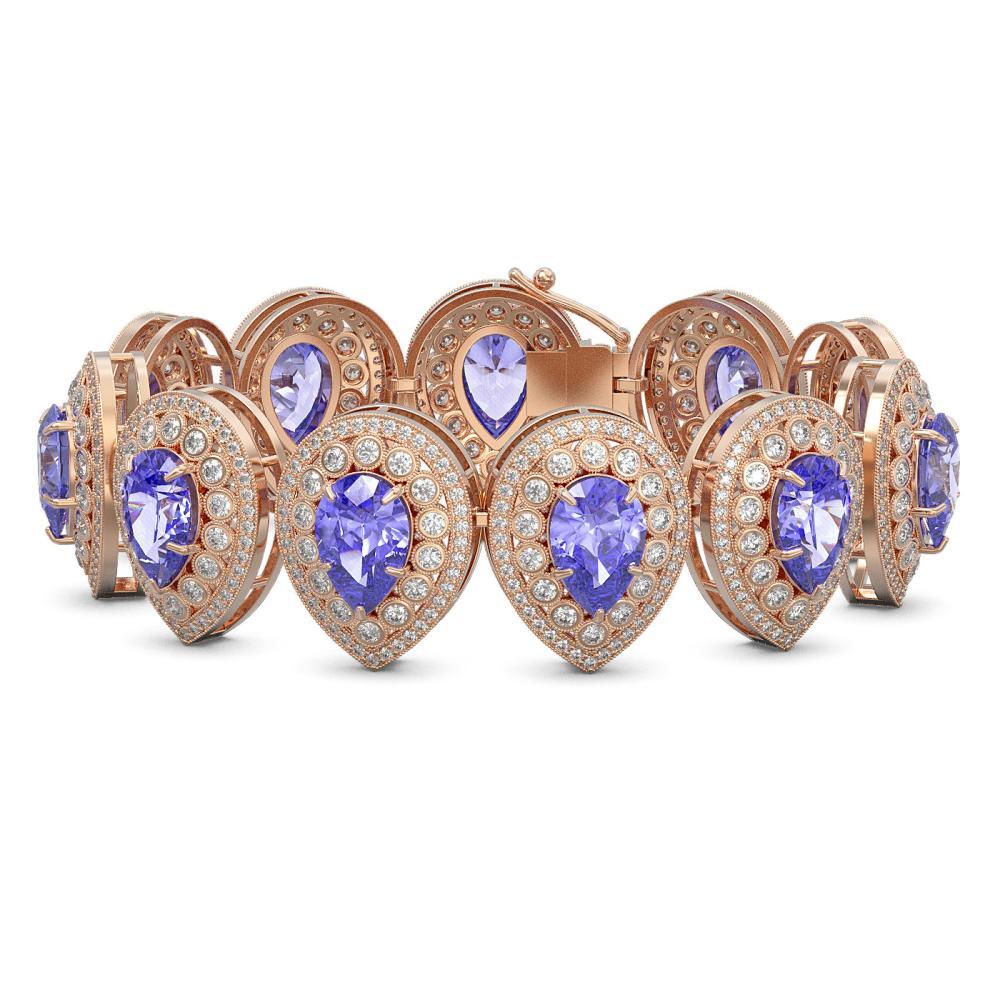 50.04 ctw Tanzanite & Diamond Bracelet 14K Rose Gold - REF-2096K7W - SKU:43263