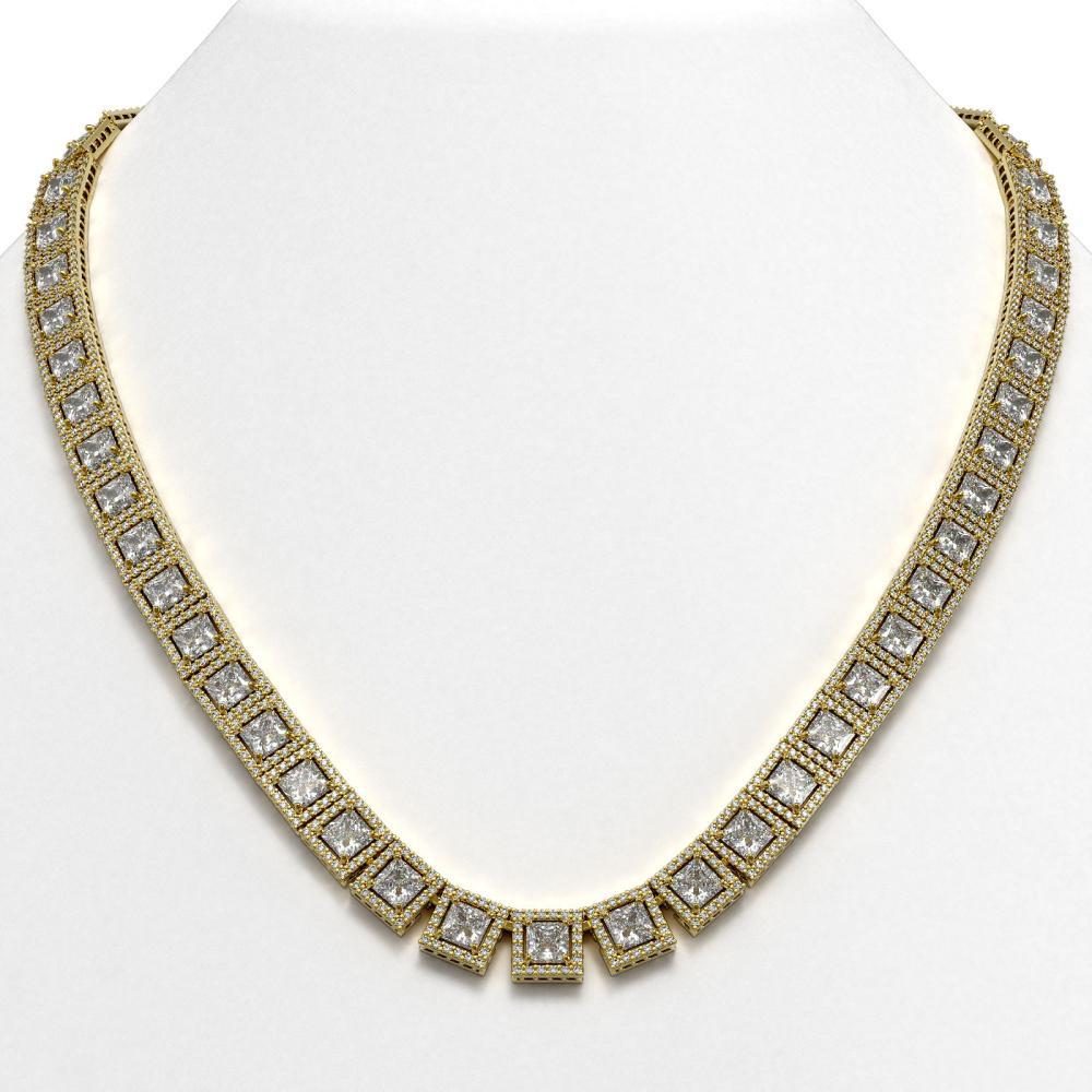 41.80 ctw Princess Diamond Necklace 18K Yellow Gold - REF-5789V3Y - SKU:42724