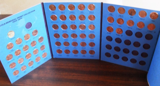 Lincoln Memorial Penny Collection 1959 - 1984 - 62 pennies