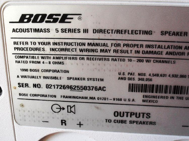 Bose Acoustim 5 Series III Speaker System on asus wiring diagram, scosche wiring diagram, at&t wiring diagram, clark wiring diagram, ge wiring diagram, panasonic wiring diagram, jvc wiring diagram, apc wiring diagram, cerwin vega wiring diagram, rca cable wiring diagram, korg wiring diagram, speaker wiring diagram, boss wiring diagram, mitsubishi wiring diagram, apple wiring diagram, samsung wiring diagram, definitive technology wiring diagram, cooper wiring diagram, sony wiring diagram, benq wiring diagram,