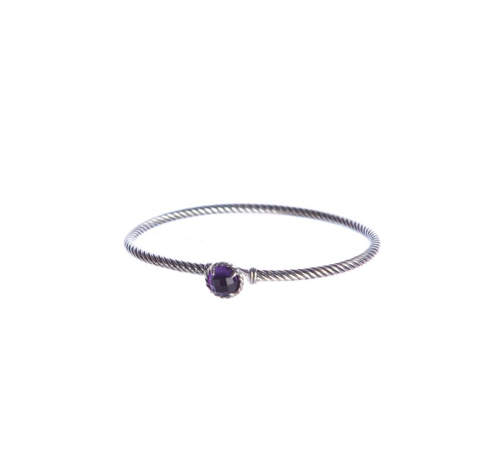 David Yurman Sterling Silver Amethyst Chatelaine Bracelet