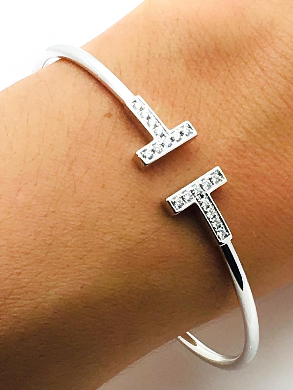 Tiffany Co 18k Gold Diamond T Wire Bracelet