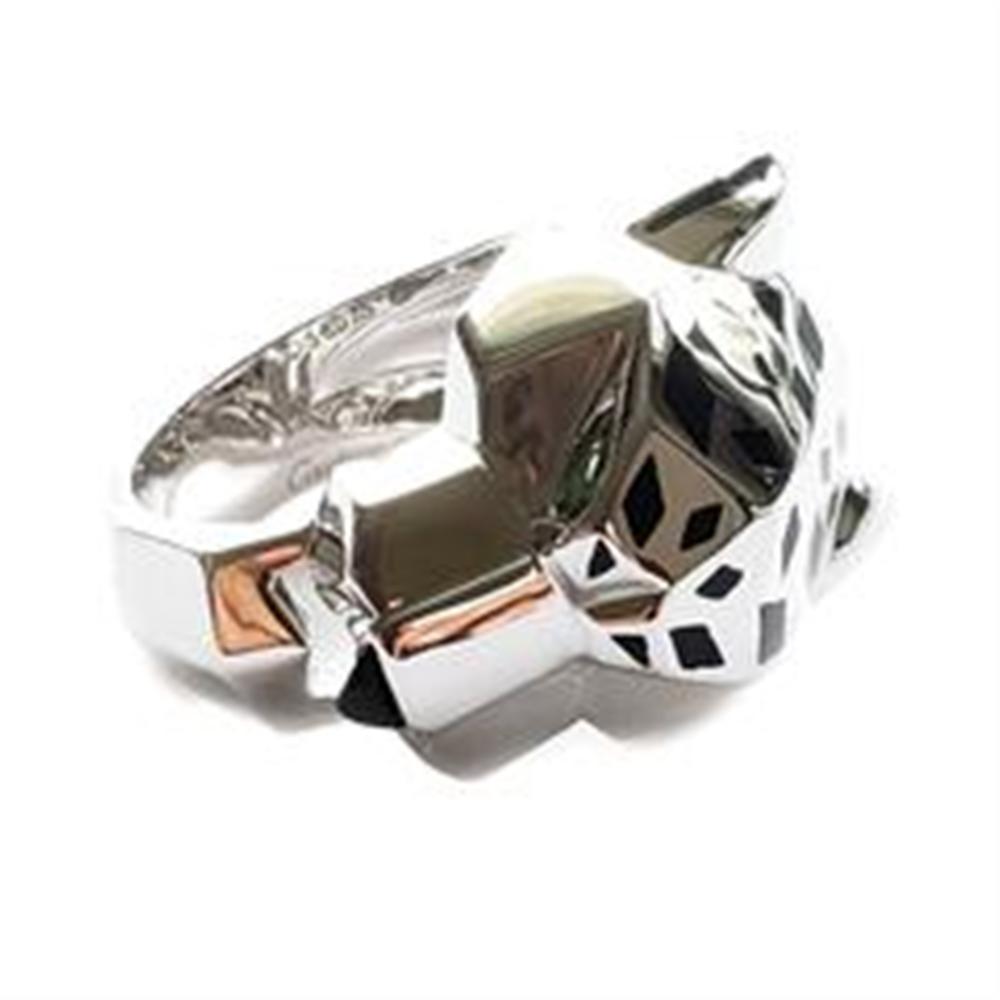 990b14d262b20 Cartier 18k White Gold Panther Onyx Tsavorite Ring