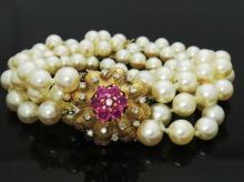 Estate 14k Gold Pink Sapphire Diamond Cultured Pearl