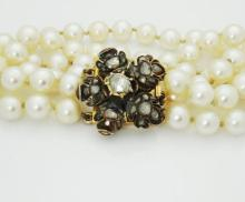 Antique 18k Gold Diamonds Culured Pearls 3 Strand