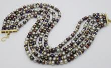 Sazingg 18k Gold Pearl & Amethyst Five Strand Necklace