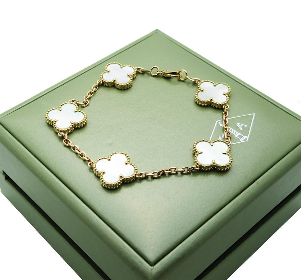 fb211bb3d2746 Van Cleef   Arpels Vintage Alhambra 5 Motif Mother of Pearl Bracelet