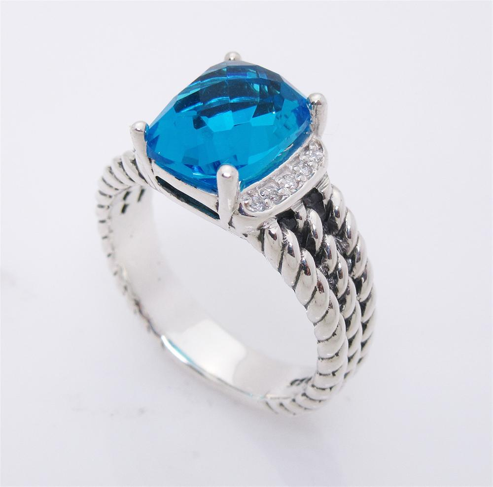 David Yurman Wheaton Petite Blue Topaz 0.08tcw Diamond