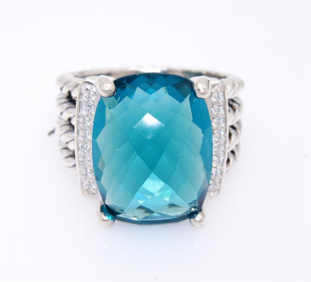David Yurman Wheaton 16x12mm Blue Topaz 0.13tcw Diamond