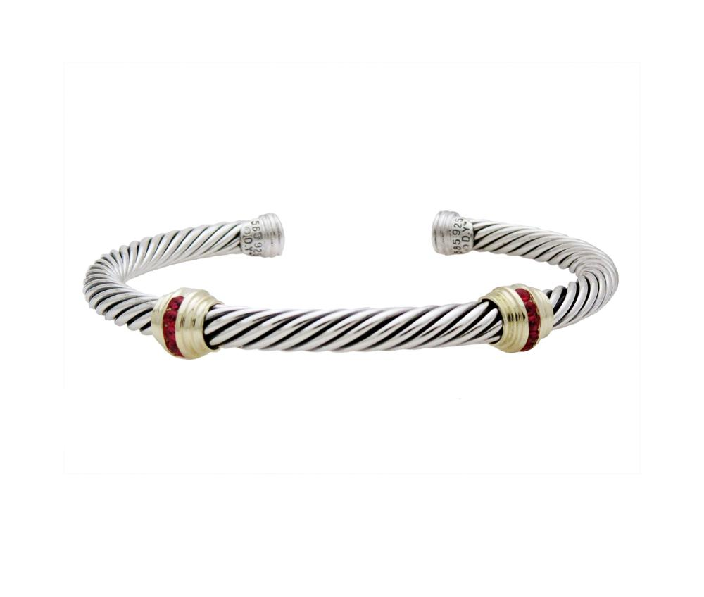 DAVID YURMAN DOUBLE STATION RUBY CUFF BRACELET