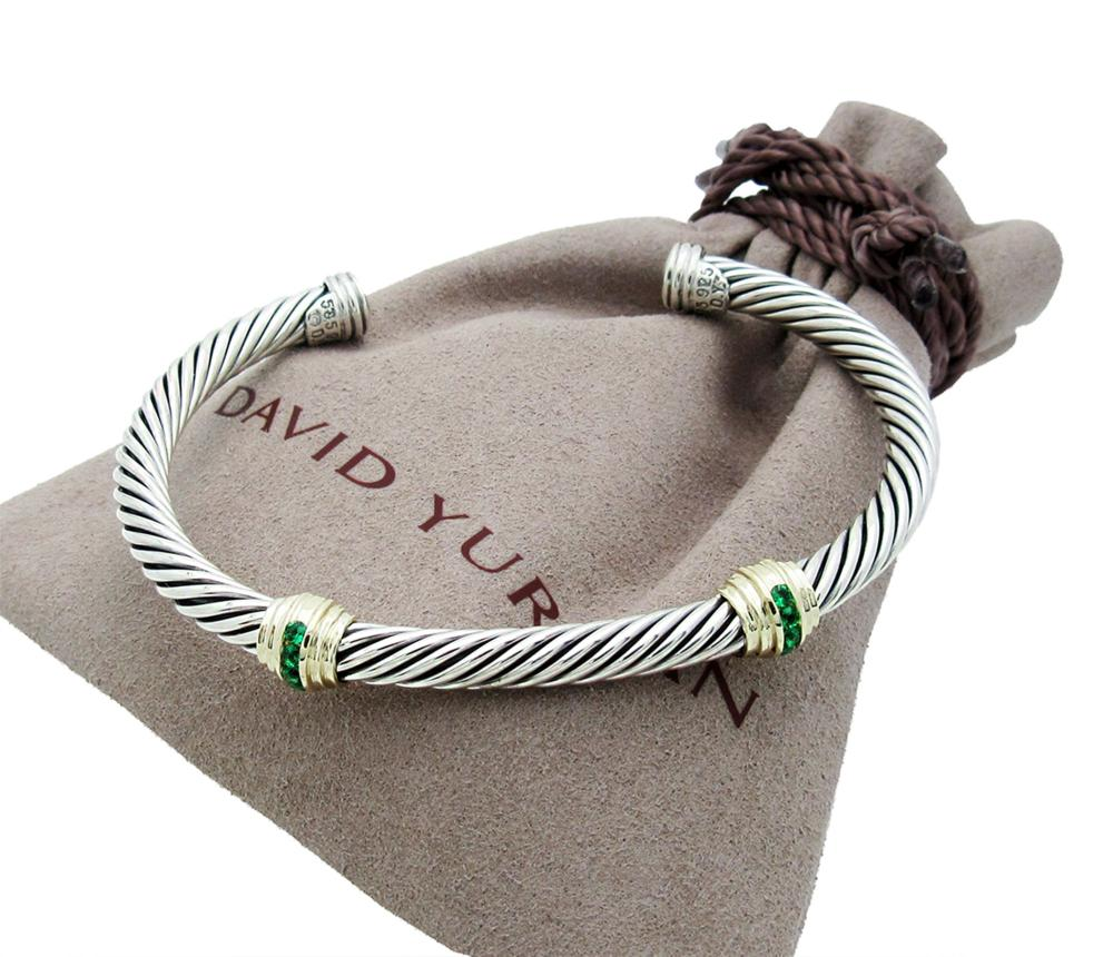 DAVID YURMAN DOUBLE STATION EMERALD CUFF BRACELET