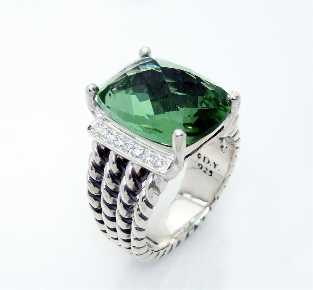 David Yurman Wheaton 16x12mm Prasiolite 0.13tcw Diamond