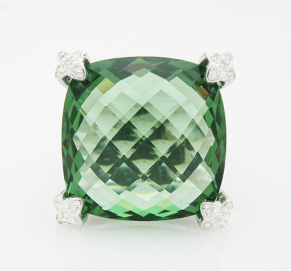 DAVID YURMAN Cushion On Point 20mm Prasiolite Diamond