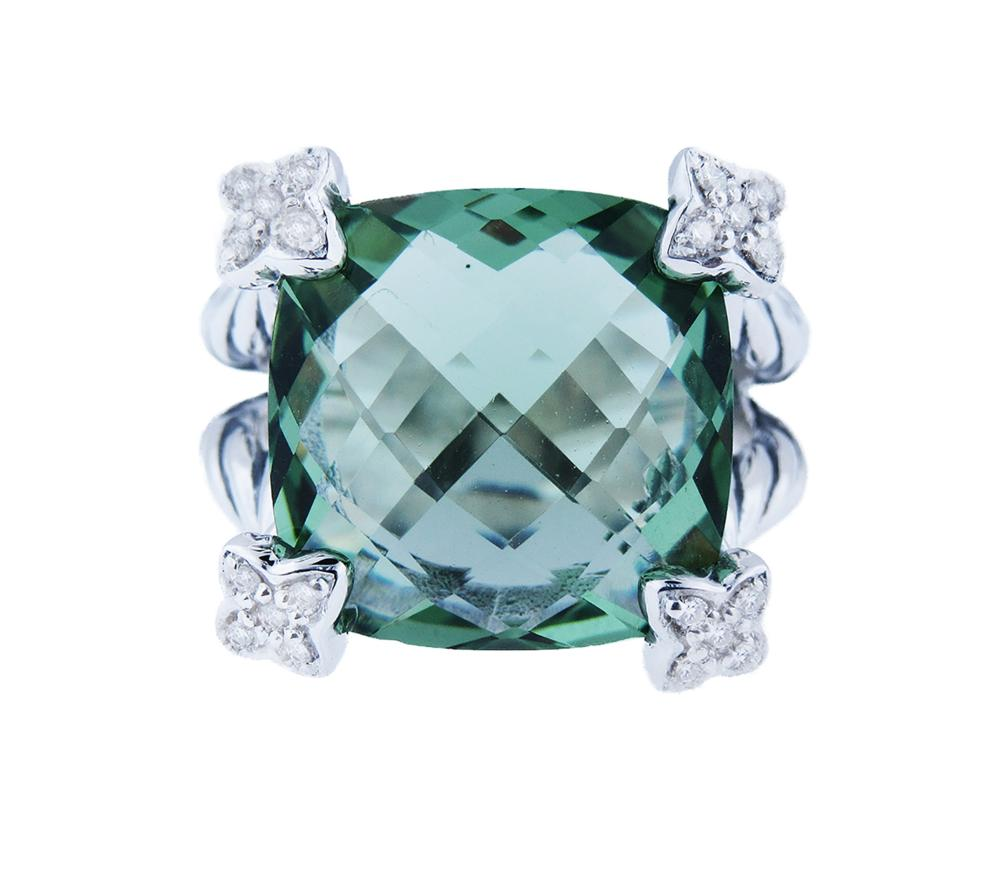 DAVID YURMAN Cushion On Point 15mm Prasiolite Diamond