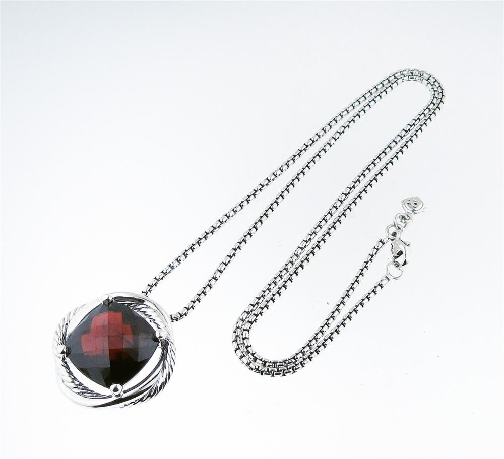 David Yurman Sterling Silver Infinity Garnet Necklace