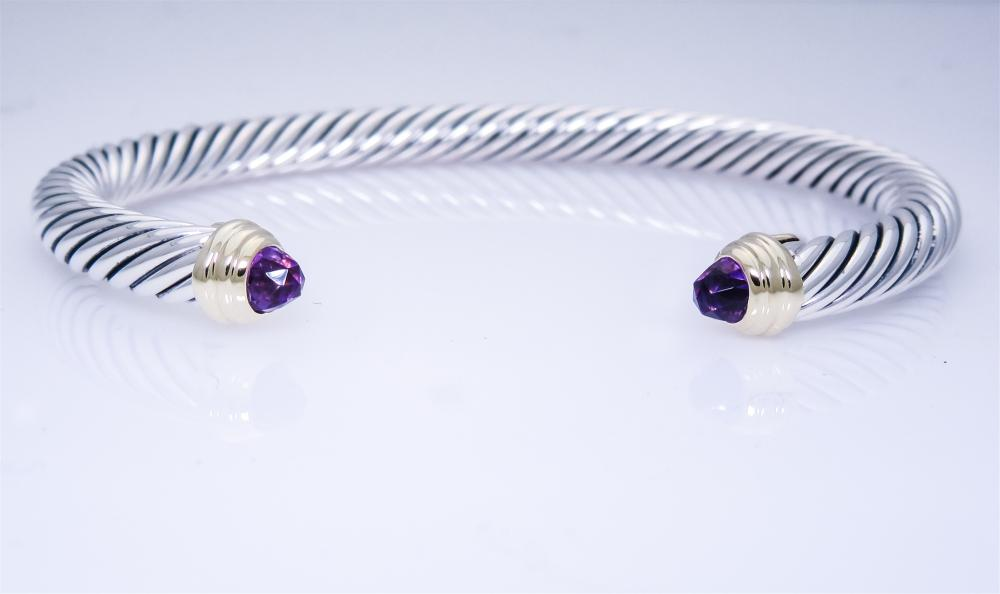 David Yurman Sterling 14K Amethyst   5mm Cable Bracelet