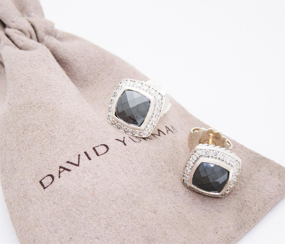 David Yurman Sterling Diamond Hematite Albion Earrings