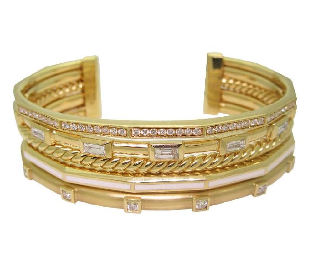 DAVID YURMAN 18k Gold Stax Medium Cuff Diamond Bracelet