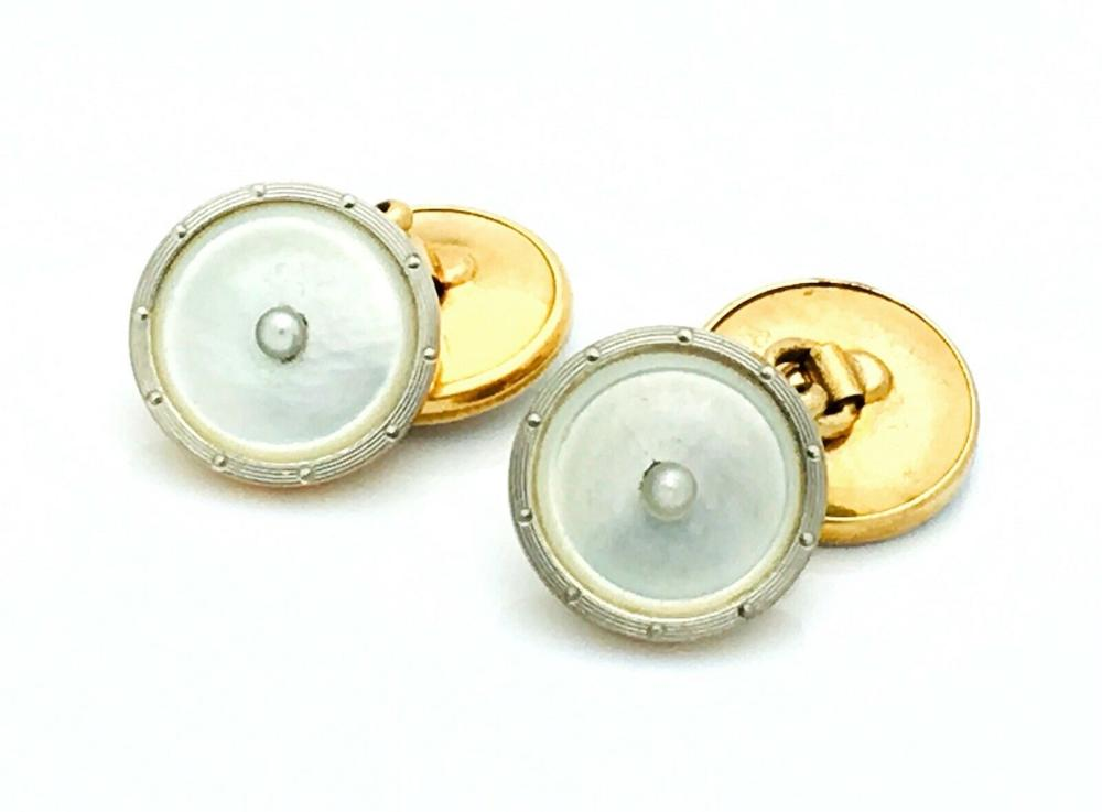 14k Yellow Mother Of Pearl & Seed Pearl 13.8mm