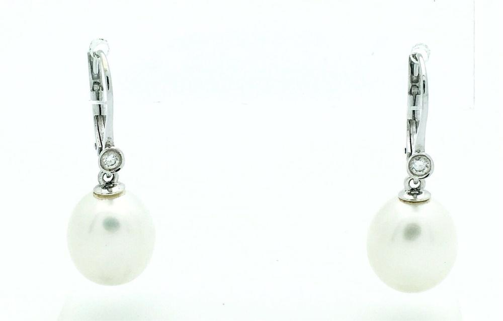 18k White Gold With 12mm Pearl & Diamonds Drop Earrings