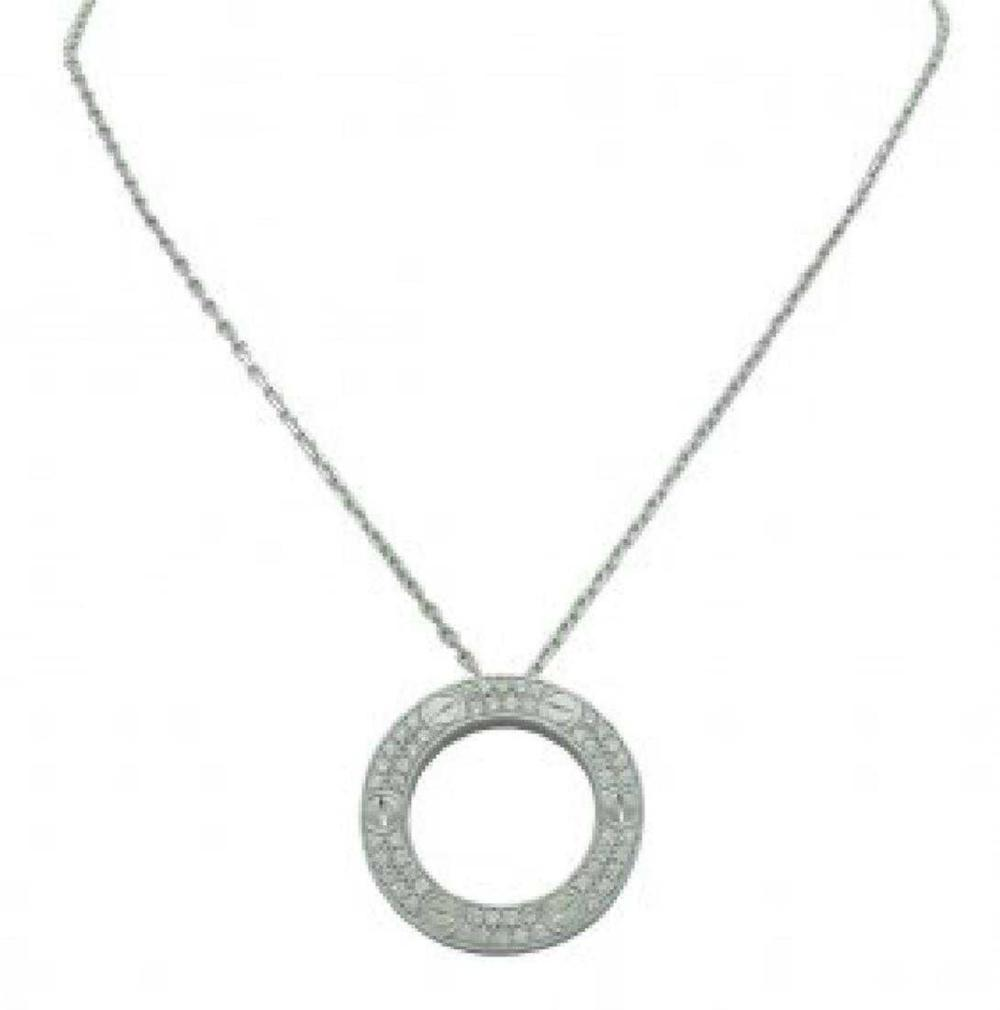 Cartier 18K White Gold Diamond LEVE Necklace