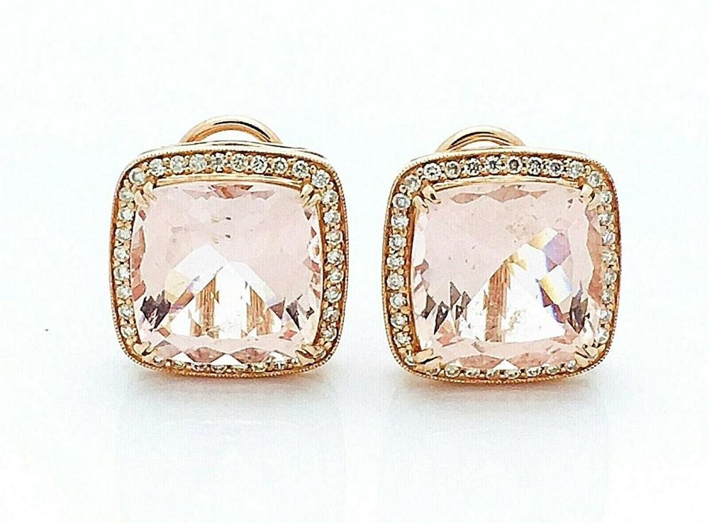 14k Rose Gold With Morganite & Diamond Earrings