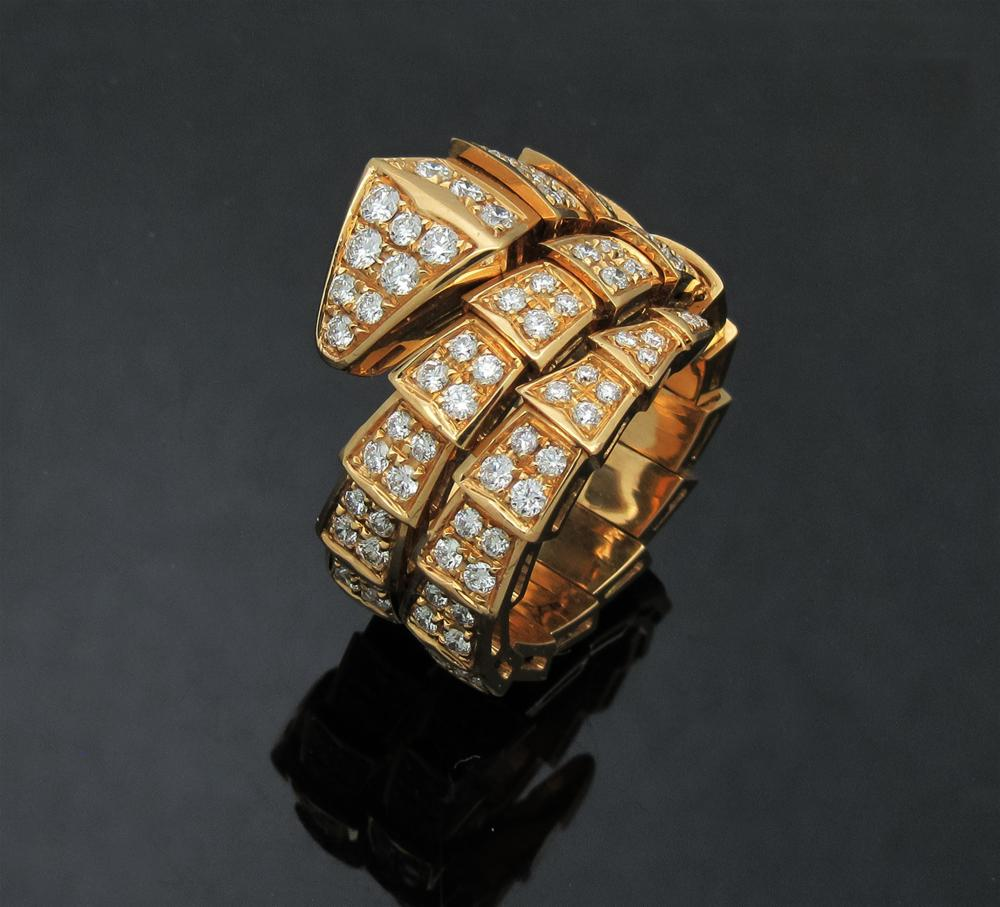Bulgari Seprenti 18k Yellow Gold Pave Diamond Ring size