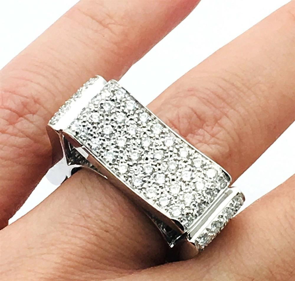 Modern Italian 18k 5.00 TCW VS E-F Diamond Ring Sz 6.25