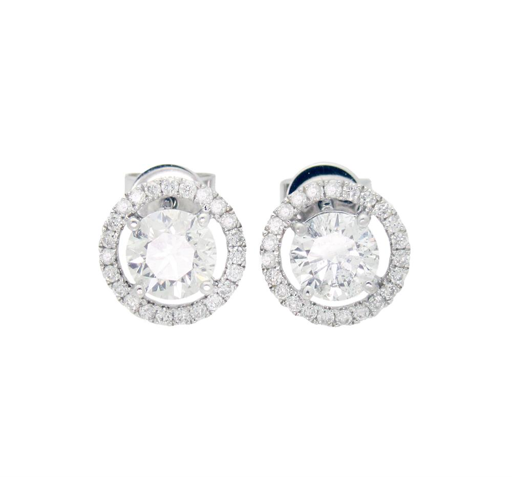 18k White Gold approx 2TCW Diamond Stud Earrings