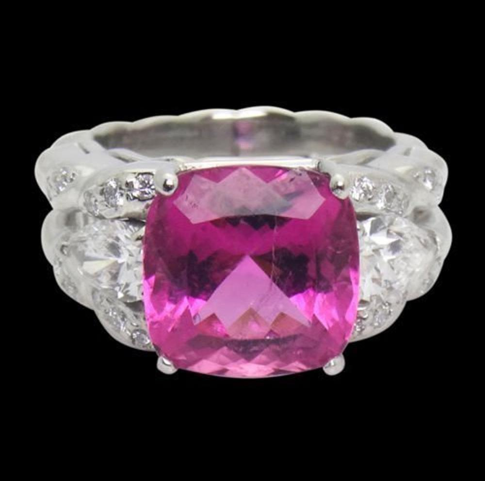 Kaufman de Suisse Plat 6.5TCW Tourmaline & Diamond Ring