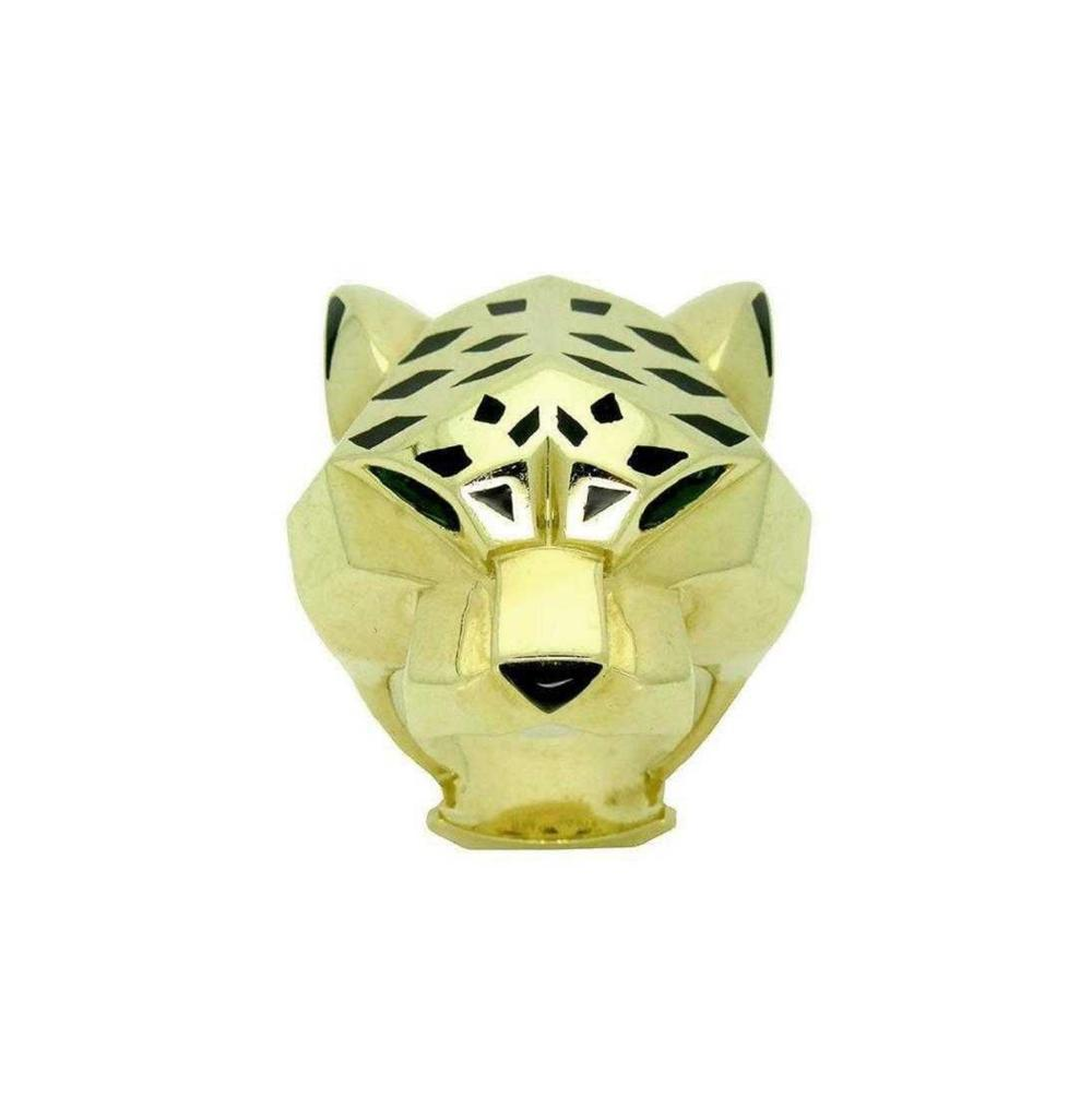 Panther De Cartier 18k Yellow Gold Onyx Peridot Ring