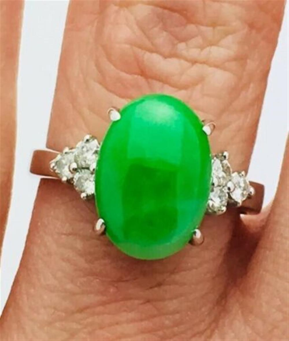 18k White Gold 3ct Jade & 0.16ct Diamonds Ring