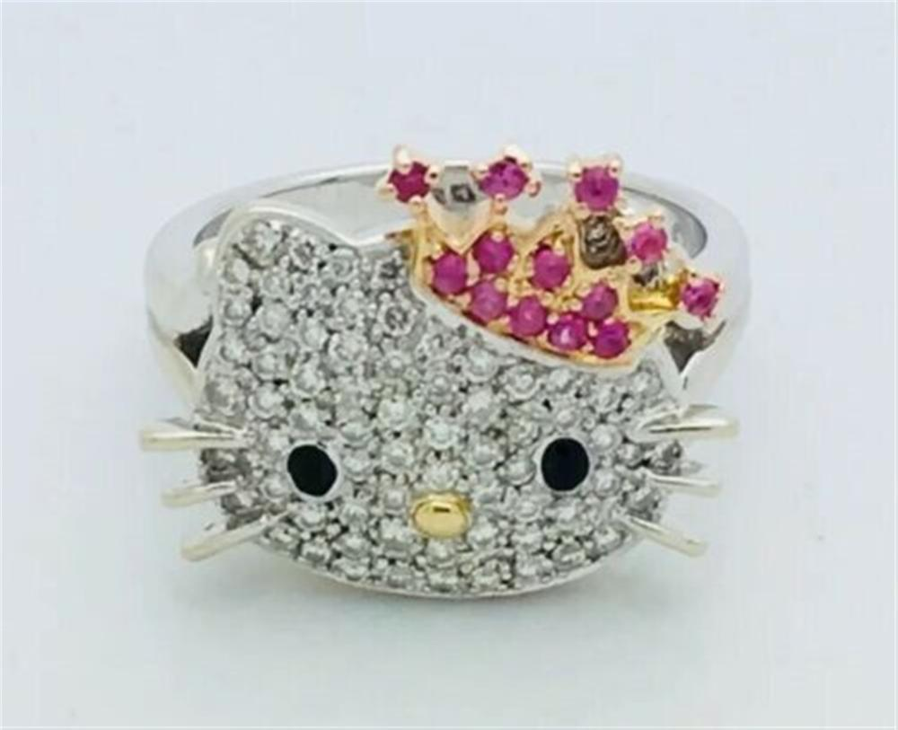 Hello Kitty By Sanrio 18k White Gold Diamond Ring Size