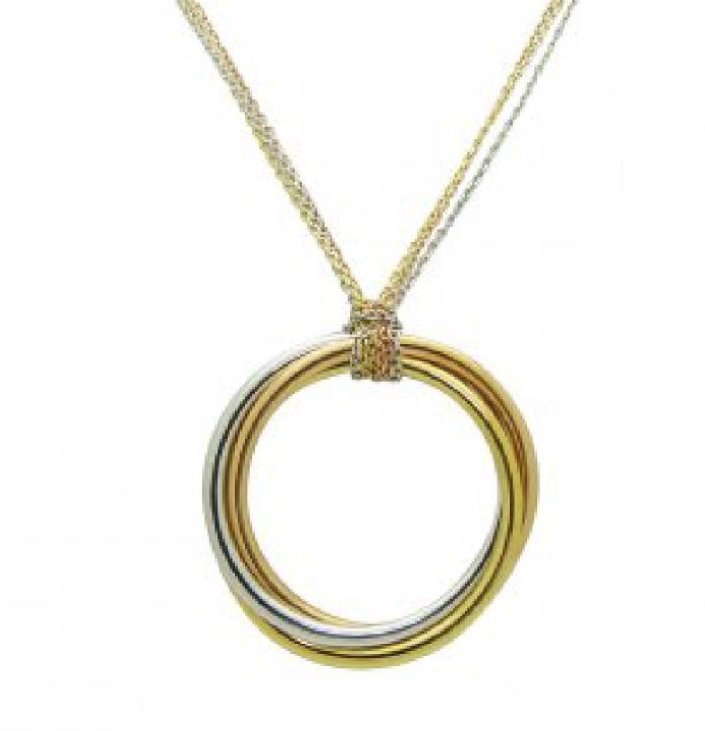 Trinity de Cartier 18K White Gold Necklace Tri Gold