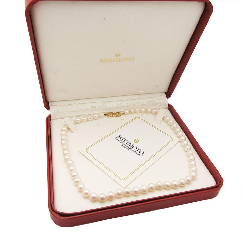 MIKIMOTO 18k Yellow Gold Akoya Cultured Pearl Necklace