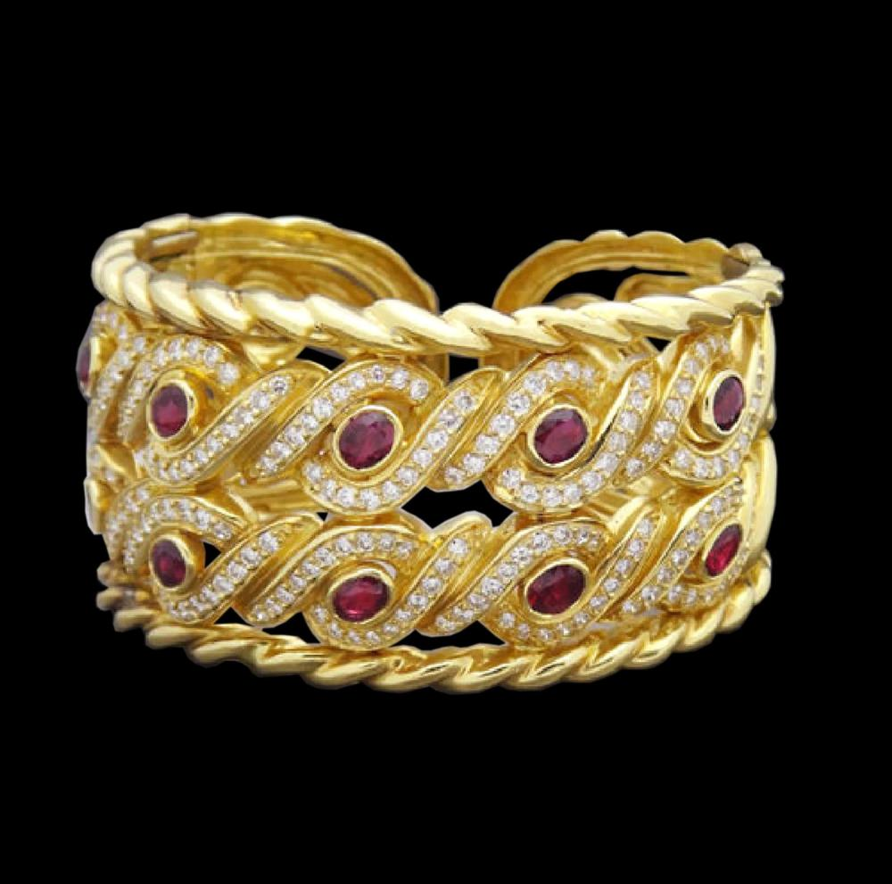 18K Yellow Gold Ruby & Diamond Cuff Bracelet