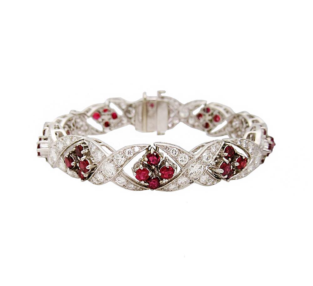 Vintage apx.8 TCW Diamond and Rubies Bracelet