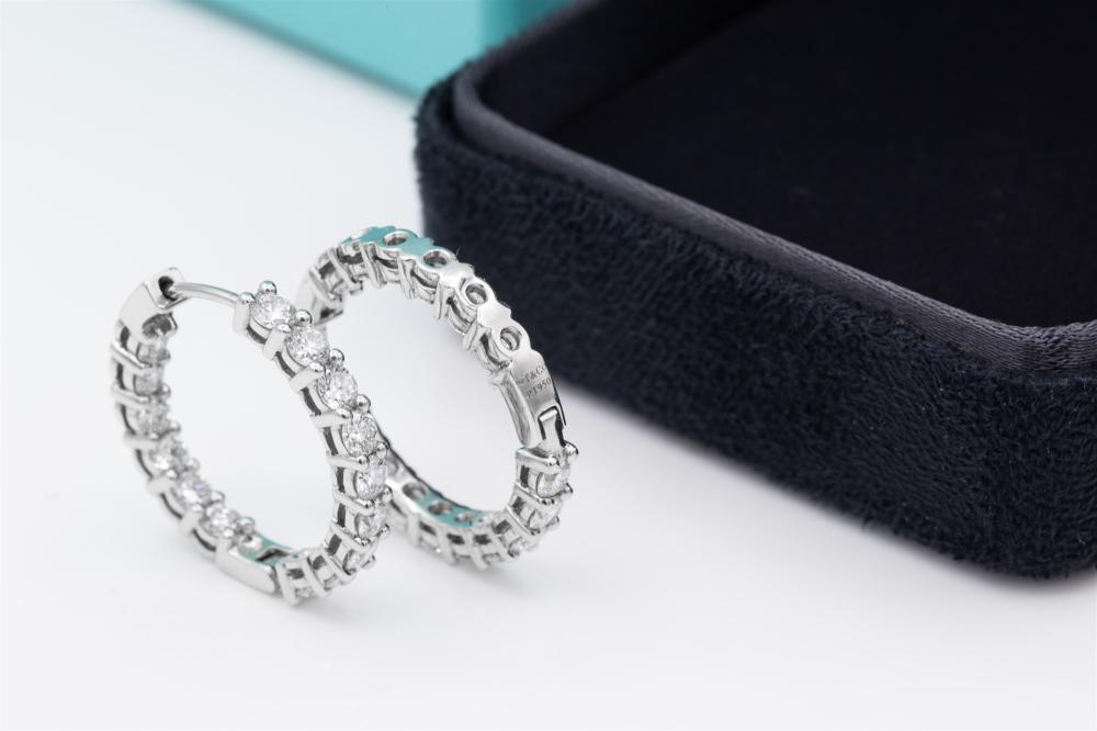 Tiffany & Co. Pt 950 2.8TCW Diamond Hoop Earrings