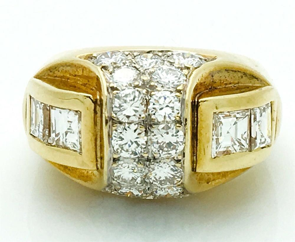 18k Yellow Gold 2.60 TCW Round & Princess Cut Diamond