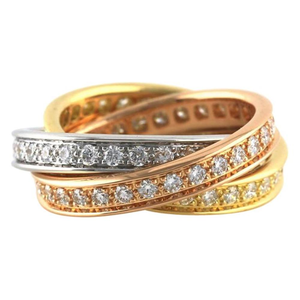 Cartier Trinity 18K Tri-Gold Diamond Ring