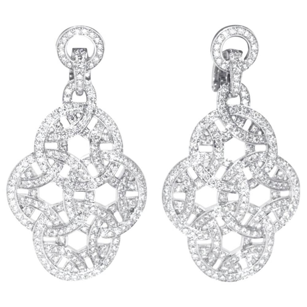 Cartier 18K White Gold Diamond Earrings