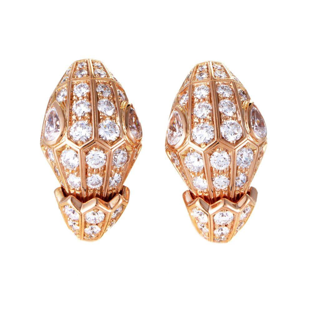 BVLGARI Serpenti 18k Rose Gold Diamond Pave Earrings